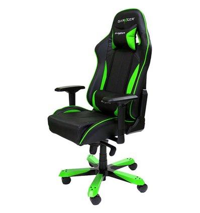 Кресло DXRacer OH/KS57/NE King Series, компьютерное, экокожа, цвет черный/зеленый