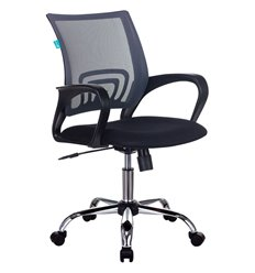 Кресло Бюрократ CH-695N/SL/DG/TW-11 для оператора, хром, цвет серый/черный, спинка сетка
