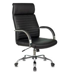 Кресло Бюрократ T-8010N/SL/BLACK для руководителя, хром, экокожа, цвет черный