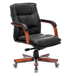 Кресло Бюрократ T-9927WALNUT-LOW/BL для руководителя, дерево, кожа, цвет черный