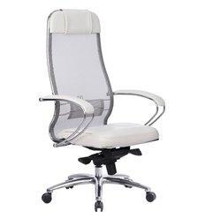 Кресло Samurai SL-1.04 белый лебедь для руководителя, сетчатая спинка