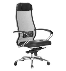 Кресло Samurai SL-1.04 черный для руководителя, сетчатая спинка