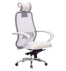 Кресло Samurai SL-2.04 белый лебедь для руководителя, сетчатая спинка