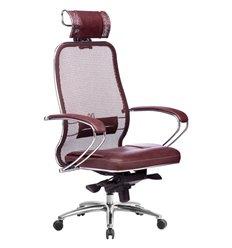 Кресло Samurai SL-2.04 темно-бордовый для руководителя, сетчатая спинка