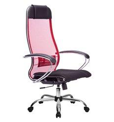 Кресло Метта Комплект 3 красный для руководителя, сетка/ткань