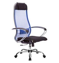 Кресло Метта Комплект 3 синий для руководителя, сетка/ткань