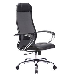 Кресло Метта Комплект 5 черный для руководителя, сетка/NewLeather