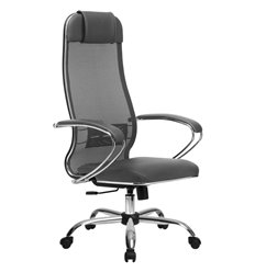 Кресло Метта Комплект 5.1 светло-серый для руководителя, сетка/NewLeather