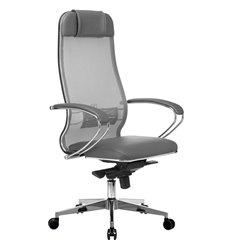 Кресло Samurai Comfort-1.01 светло-серый для руководителя, сетчатая спинка