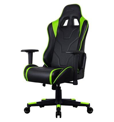Кресло AeroCool AC220 AIR-BG, геймерское, экокожа, цвет черный/зеленый