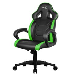 Кресло AeroCool AC60C AIR-BG, геймерское, экокожа, цвет черный/зеленый