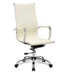 Кресло BRABIX Energy EX-509 для руководителя, хром, рециклированная кожа, бежевое
