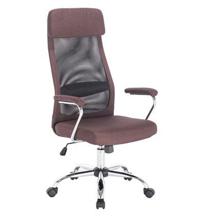 Кресло BRABIX Flight EX-540 для руководителя, ткань, сетка, коричневое