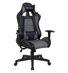 Кресло BRABIX GT Racer GM-100 игровое, две подушки, экокожа, черное/серый