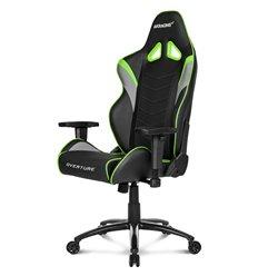 Кресло AKRacing OVERTURE Black/Green, геймерское, экокожа, цвет черный/зеленый/серый