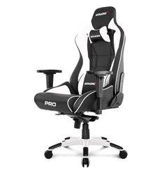 Кресло AKRacing PRO Black/White, геймерское, экокожа, цвет черный/белый