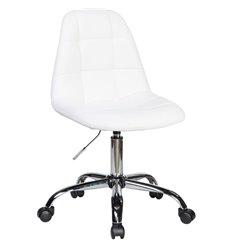 Кресло LM-9800 белый для персонала, хром, экокожа