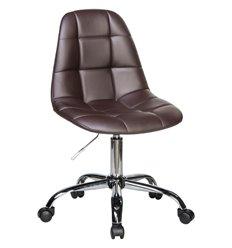 Кресло LM-9800 коричневый для персонала, хром, экокожа
