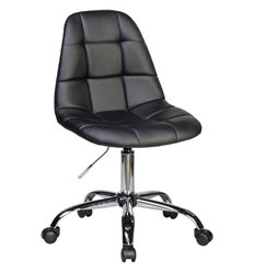 Кресло LM-9800 черный для персонала, хром, экокожа