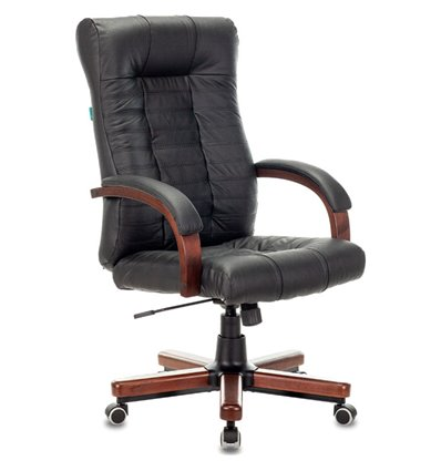 Кресло Бюрократ KB-10WALNUT/B/LEATH (Атлант) для руководителя, кожа/дерево, цвет черный