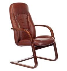Кресло Бюрократ T-9923WALNUT-AV/CH для посетителя, дерево, кожа, цвет коричневый