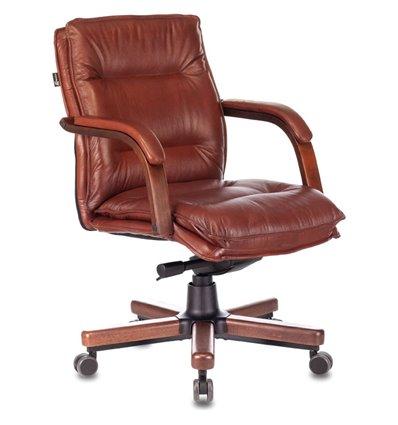 Кресло Бюрократ T-9927WALNUT-LOW/CH для руководителя, дерево, кожа, цвет коричневый