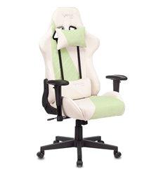 Кресло Бюрократ VIKING X Fabric GREEN игровое, ткань, цвет белый/зеленый
