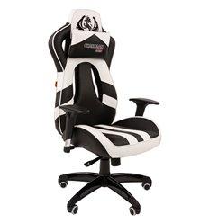 Кресло CHAIRMAN GAME 25 WHITE геймерское, экокожа, цвет белый/черный