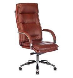 Кресло Бюрократ T-9927SL/CHOKOLATE для руководителя, хром, кожа, цвет коричневый