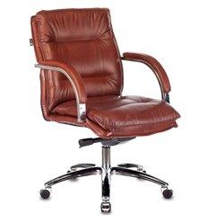 Кресло Бюрократ T-9927SL-LOW/CHOK для руководителя, хром, кожа, цвет коричневый