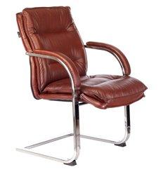 Кресло Бюрократ T-9927SL-LOW-V/CHOK для посетителя, хром, кожа, цвет коричневый