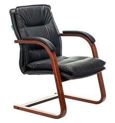Кресло Бюрократ T-9927WALNUT-AV/BL для посетителя, дерево, кожа, цвет черный