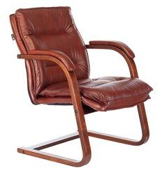Кресло Бюрократ T-9927WALNUT-AV/CHOK для посетителя, дерево, кожа, цвет коричневый