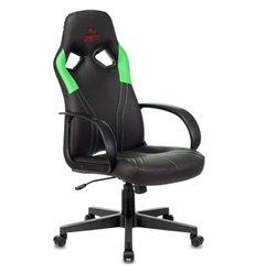Кресло Бюрократ ZOMBIE RUNNER GREEN игровое, экокожа, цвет черный/зеленый