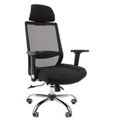 Кресло CHAIRMAN 555 LUX для руководителя, сетка/ткань, цвет черный