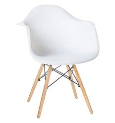 Стул Eames DAW LMZL-PP620 белый пластик, ножки светлый бук