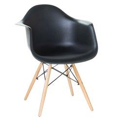 Стул Eames DAW LMZL-PP620 черный пластик, ножки светлый бук