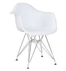 Стул Eames DAW LMZL-PP620B белый пластик, ножки хром