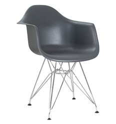 Стул Eames DAW LMZL-PP620B серый пластик, ножки хром