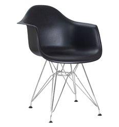 Стул Eames DAW LMZL-PP620B черный пластик, ножки хром