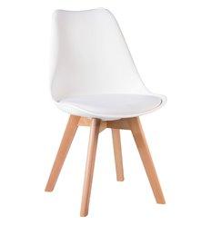 Стул Jerry Soft LMZL-PP635 белый пластик, сиденье экокожа, ножки светлый бук