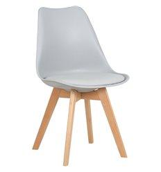 Стул Jerry Soft LMZL-PP635 светло-серый пластик, сиденье экокожа, ножки светлый бук