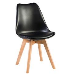 Стул Jerry Soft LMZL-PP635 черный пластик, сиденье экокожа, ножки светлый бук