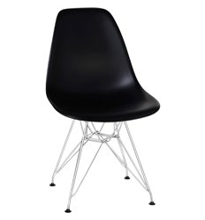 Стул Eames LMZL-PP638А черный пластик, ножки хром