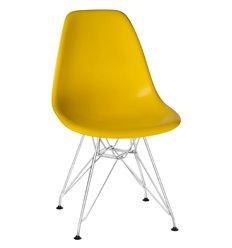 Стул Eames LMZL-PP638А желтый пластик, ножки хром