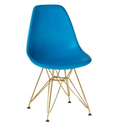 Стул Eames LMZL-PP638А голубой пластик, ножки золото