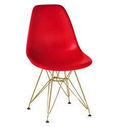 Стул Eames LMZL-PP638А красный пластик, ножки золото