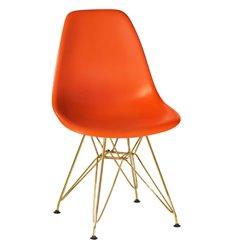 Стул Eames LMZL-PP638А оранжевый пластик, ножки золото