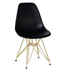 Стул Eames LMZL-PP638А черный пластик, ножки золото