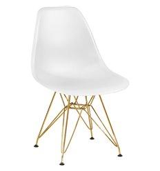 Стул Eames LMZL-PP638А белый пластик, ножки золото